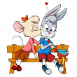 Little mouse female kissing shy rabbit boy — Vector de stock