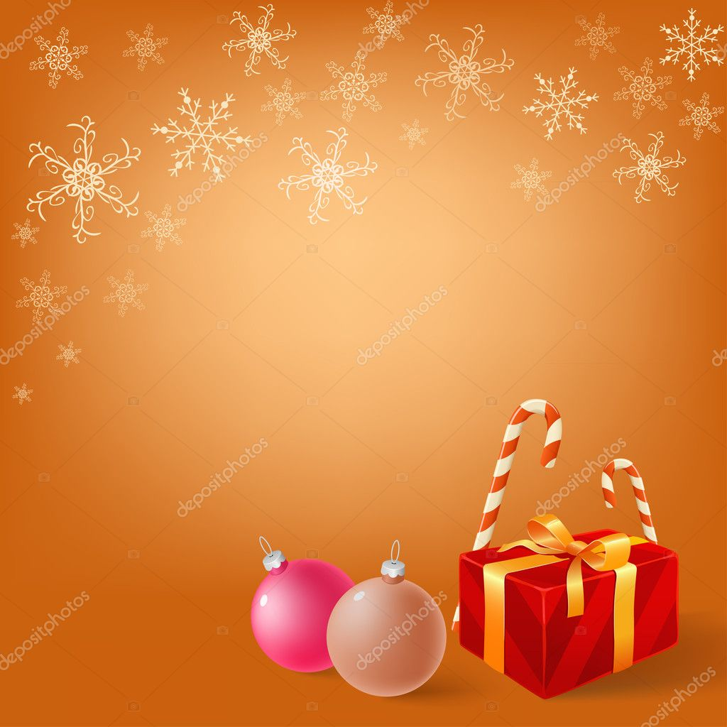 Christmas gifts box and balls on snowy background. Vector illustration.  Stock Vector #7382727