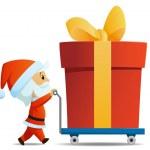 Service men santa with cart and big christmas gift box — Stock Vector #7507156