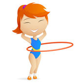 Girl gymnast with red hula-hoop. — Stock Vector