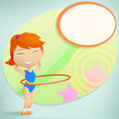 Girl gymnast with red hula-hoop on abstract background — Stock Vector