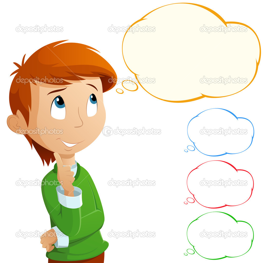 Cartoon Image of a Person Thinking Cartoon Boy Thinking of