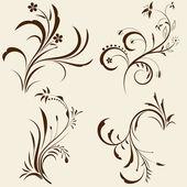 Set of decorative floral ornament — Stock Vector