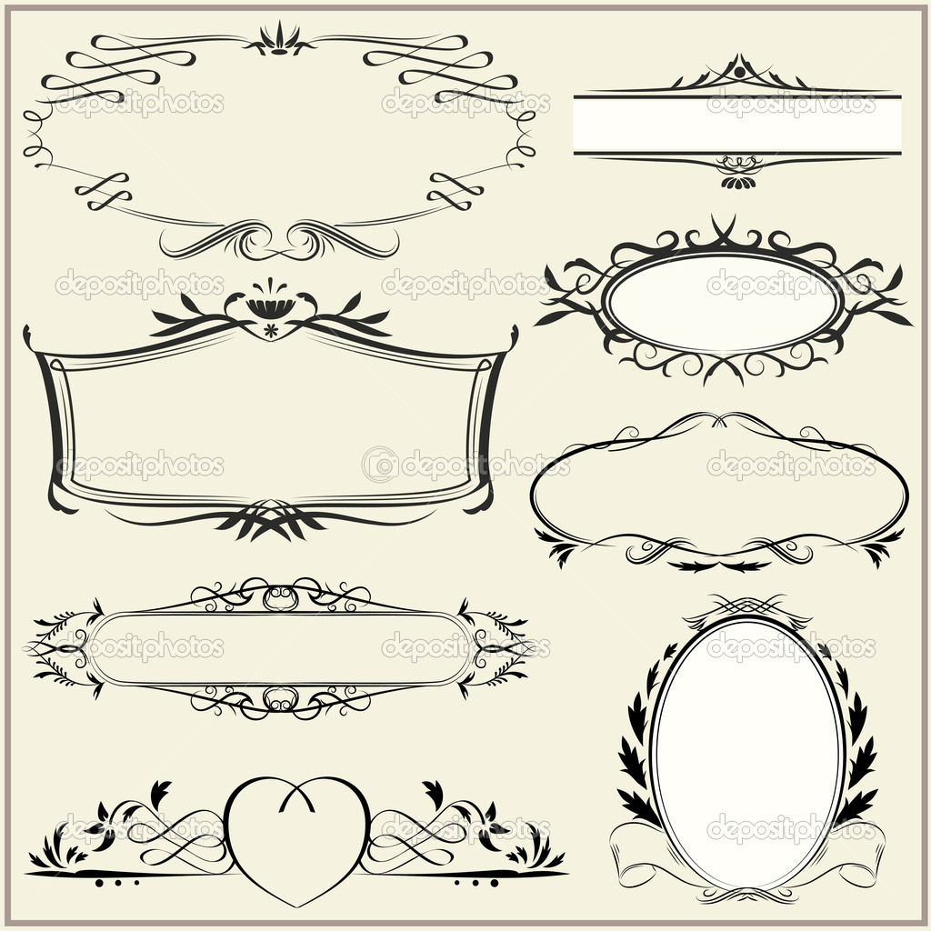 Set of exquisite ornamental and page decoration designs. Retro vintage frames. Vector illustration. — Stock Vector #7627999