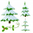 Set of snow covered fir christmas trees - Stock Vector