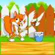Little cartoon fox with paintbrush with background — Stock Vector