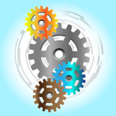 Four colorful gears with abstract background — Stock Vector