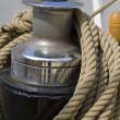 Winch with strong rope on ship — Stock Photo
