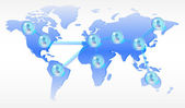 Several persons in social media network on world map — Stockfoto