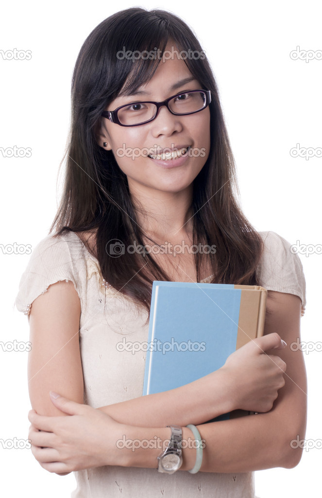An Asian college student carrying a big book on white background — Stock Photo #6773376