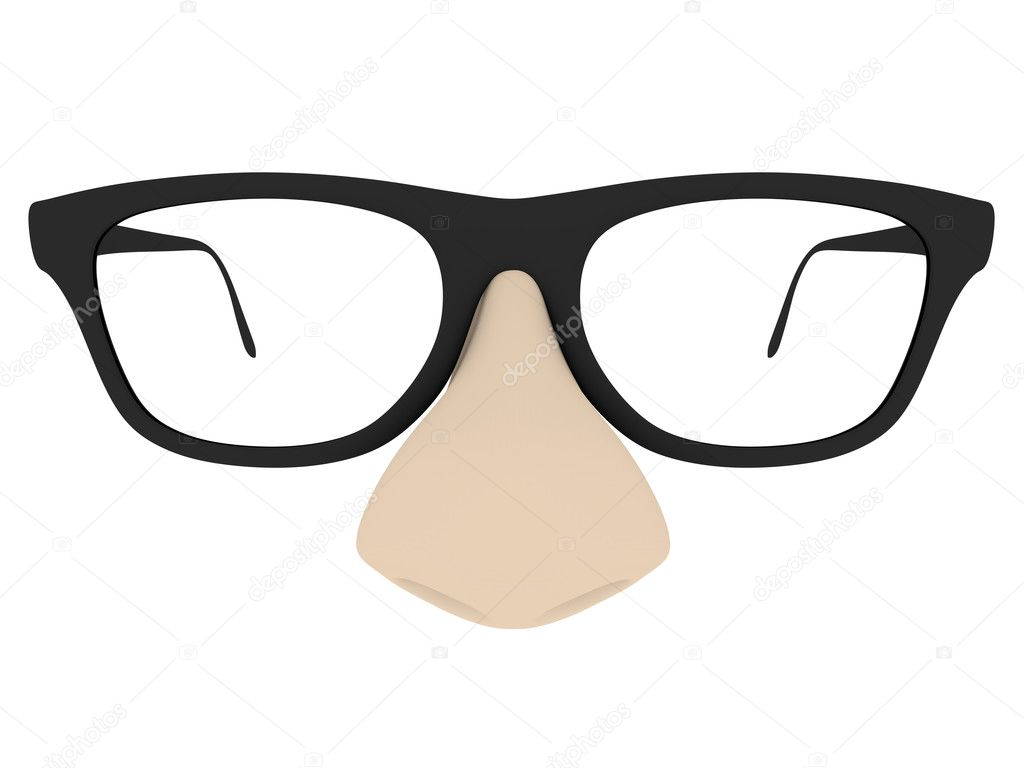 Front view of a humorous fake glasses with a big nose — Stock Photo #6811908