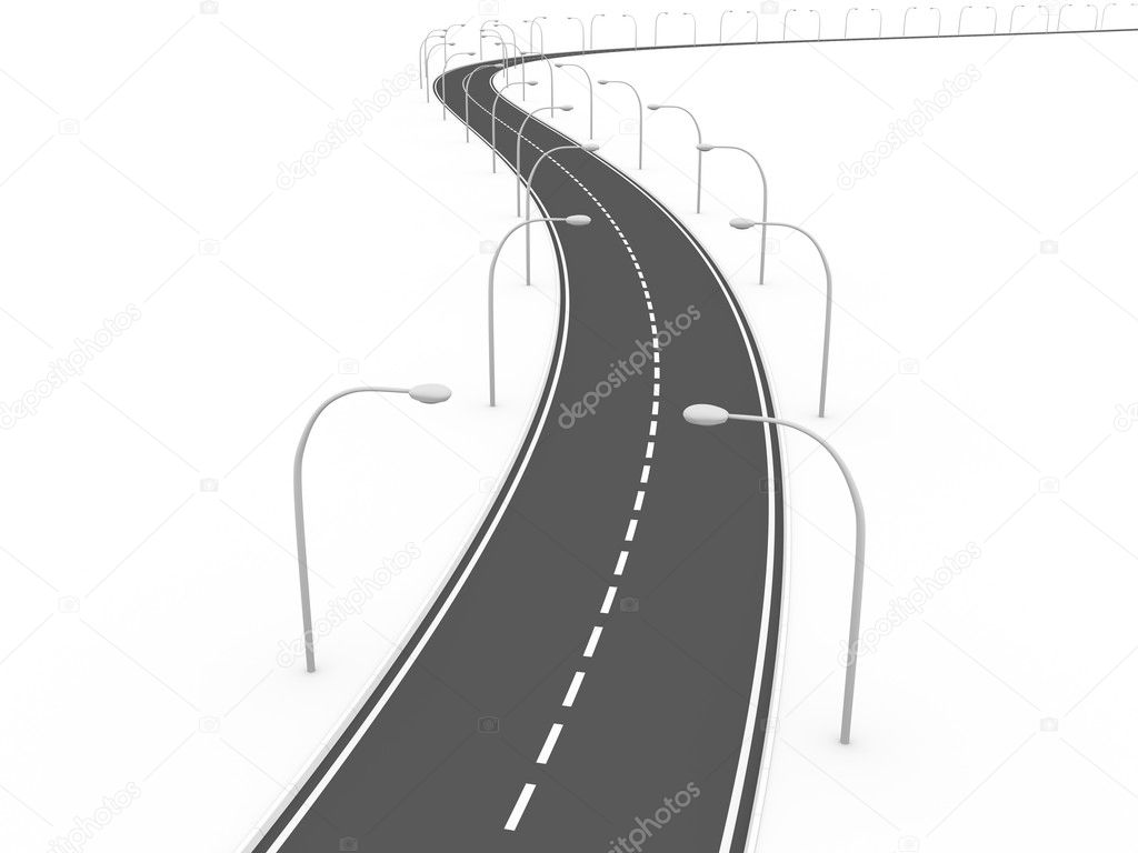 Curved urban road with lamppost. 3d render — Stock Photo #6811995