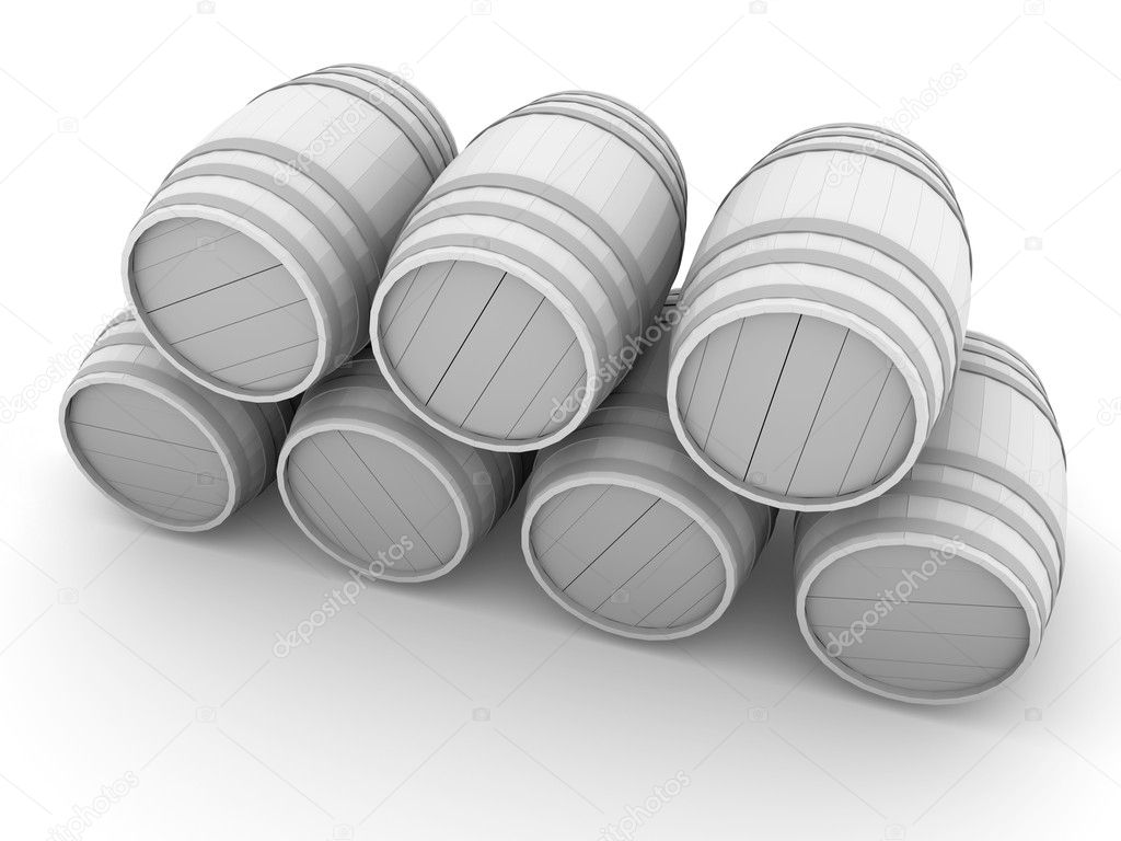 Illustration of wooden barrels in white. 3d render — Stock Photo #6812005