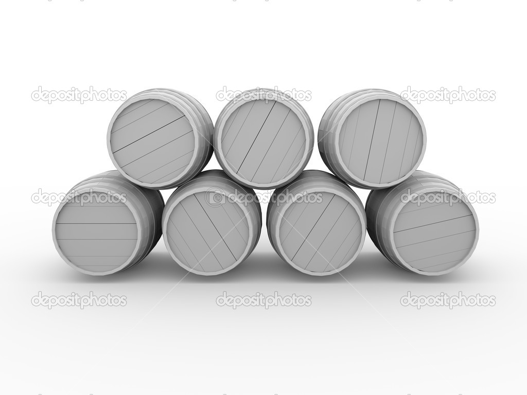 Illustration of some wooden barrels in white. 3d render — Stock Photo #6812029