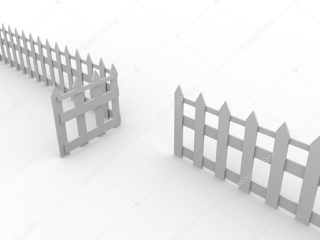 Illustration of a wooden fence with the door open — Stock Photo #6812036