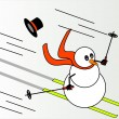 Stock Vector: Snowmskiing