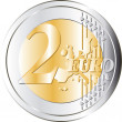 Two Euro Coin - Stock Vector