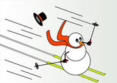 Snowman skiing — Stock Vector
