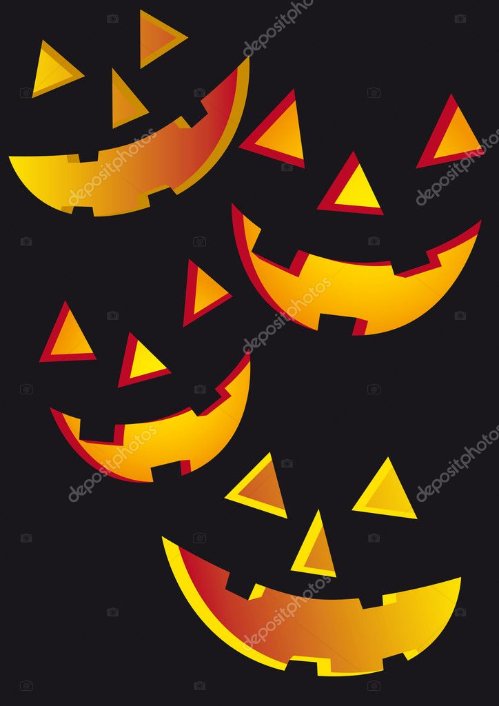 Jack o lantern faces over black. Halloween background — Stock Vector #6937552