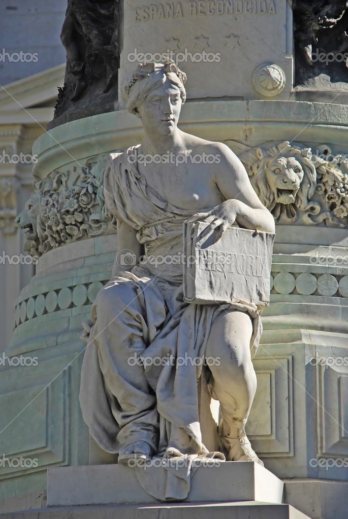 Allegory of History. Part of the monument to Maria Cristina Queen. Madrid. Spain — Stock Photo #7217511