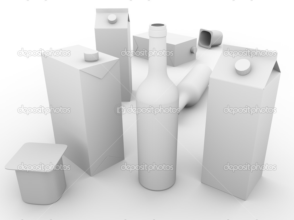 Some packaging models made of glass, cardboard and plastic . Concept of ecology and recycling — Stock Photo #7960429
