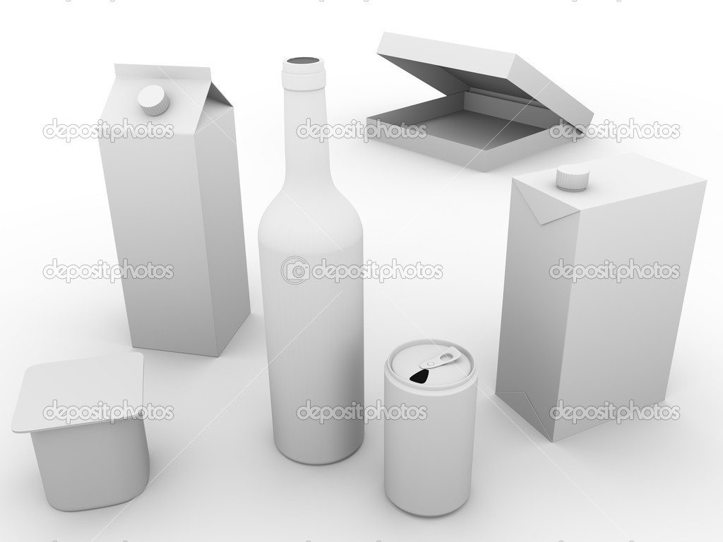Some packaging models made of plastic, glass and cardboard. Concept of ecology and recycling  Stok fotoraf #7960440