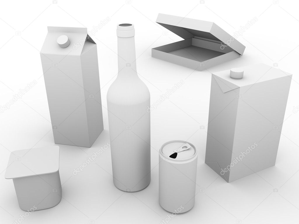 Some packaging models made of plastic, glass and cardboard. Concept of ecology and recycling — Foto Stock #7960440