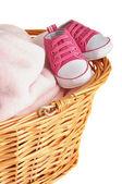 Pink baby deken en slofjes — Stockfoto