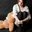 Stock Photo: The girl and bear- toy