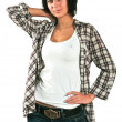 The nice girl in a checkered shirt — Stock Photo