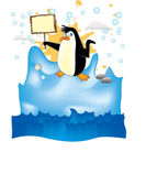 Penguin in arctic — Stock Vector