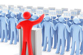 One red figure against many blue figures — Stock Photo