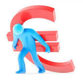 Blue human figure carring red euro sign — Stock Photo