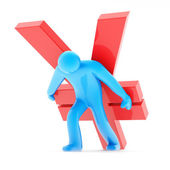 Blue human figure carring red yen sign — Stockfoto