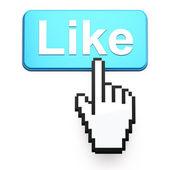 Hand-shaped mouse cursor press Like button — Stock Photo
