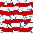 Fourth of July Stars and Stripes Seamless Background — Imagens vectoriais em stock