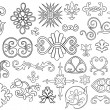 Set of 27 stylized outlined motifs and flourishes for your project — Stock vektor