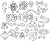 Set of 27 stylized outlined motifs and flourishes for your project — Stock Vector