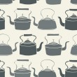 Seamless Tile background with vintage style teapots — Stock Vector