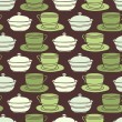 Royalty-Free Stock Vector Image: Seamless background tile with vintage style teacups, saucers and sugar bowl