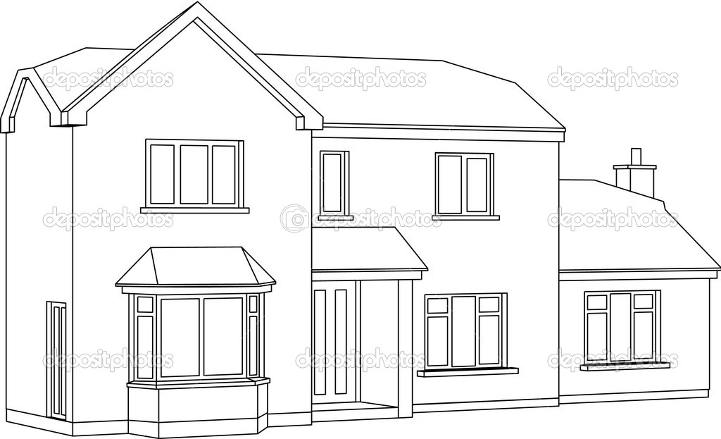 Twee punt perspectief huis stockvector theohrm 7334441 for Two story house drawing