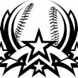 Baseball Vector Graphic Template with Stars - Stock Vector