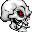 Skull Cartoon with Red Eyes Vector Image - Stock Vector