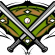 Baseball Field with Softball Crossed Bats Vector Image Template - Stock Vector