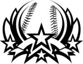 Baseball Vector Graphic Template with Stars — Stock Vector