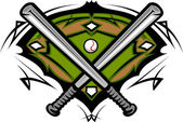 Baseball Field with Softball Crossed Bats Vector Image Template — Stock Vector