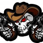 Skull Cowboy Aiming Guns — Stock Vector