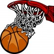 Basketball Hoop with Basketball Cartoon - Stock Vector