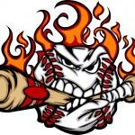 Baseball brennenden Gesicht beißen Fledermaus-Vektor-Bild — Stockvektor