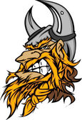 Cartoon Viking Mascot Head Vector Image with Horned Helmet — Stockvector